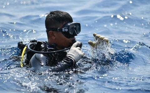 <span>An Indonesian Navy diver prepares to dive at an assigned point to search for the ill-fated Lion Air flight JT 610 at sea, north of Karawang</span> <span>Credit: AFP </span>