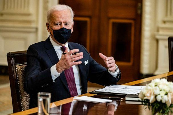 PHOTO: President Joe Biden speaks during a roundtable meeting with Americans who will benefit from the COVID-19 pandemic relief checks that are a part of the American Rescue Plan in Washinton, March 5, 2021. (Samuel Corum/Getty Images)