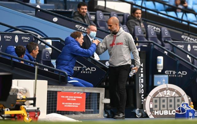 Tuchel (left) will face Pep Guardiola's Manchester City again in the Champions League final
