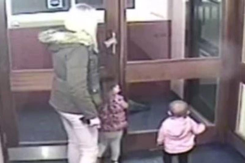 Louise Porton on CCTV with her two daughters (CPS)