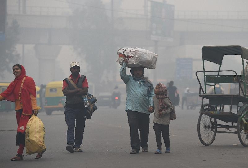 For the well-heeled in New Delhi, eating out means enjoying a gourmet spread amid sprawling green spaces but the poor must deal with dust and toxic fumes from vehicles zipping past rickety roadside food stalls in the world's most polluted major city (AFP Photo/Prakash SINGH)