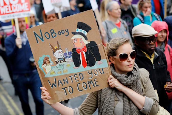 Demonstrators protest President Trump along Whitehall in London. (Photo: Tolga Akmen/AFP/Getty Images)
