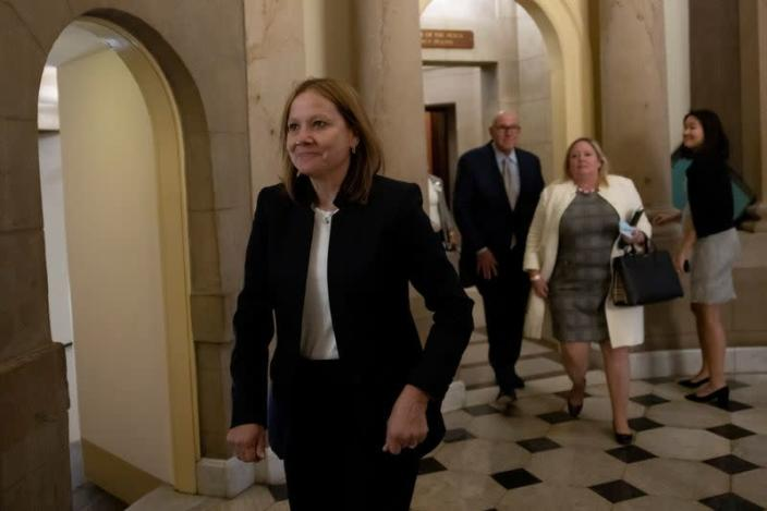 Mary Barra, CEO of General Motors, meets with Speaker of the House Nancy Pelosi in Washington