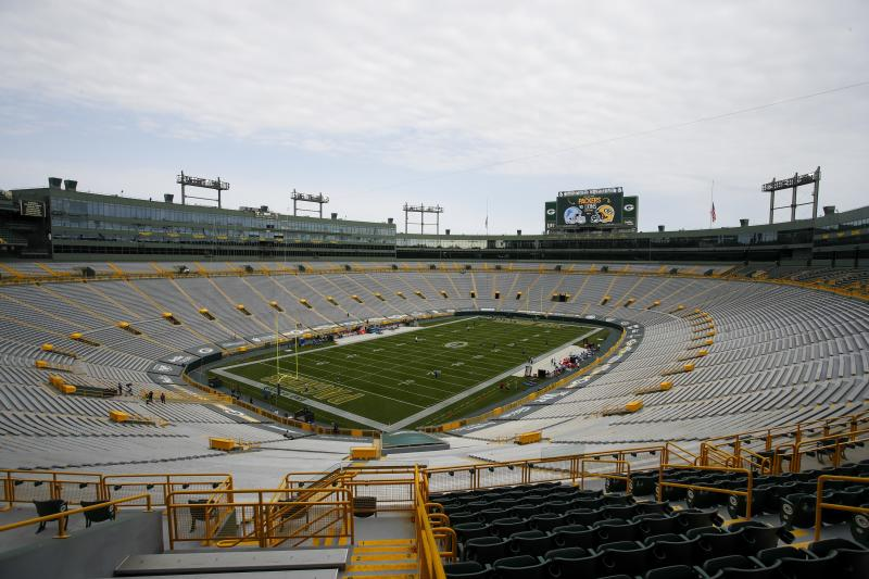 Players begin to warm up as the seats are empty at Lambeau Field before an NFL football game between the Green Bay Packers and the Detroit Lions Sunday, Sept. 20, 2020, in Green Bay, Wis. (AP Photo/Matt Ludtke)