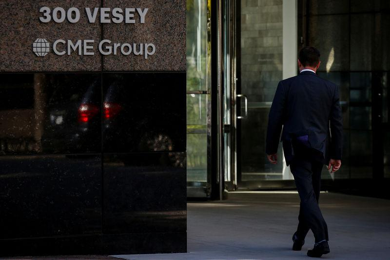 A man enters the CME Group offices in New York, U.S., October 18, 2017. REUTERS/Brendan McDermid