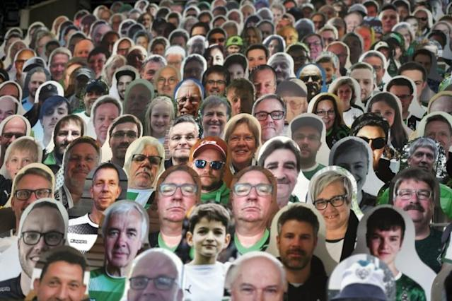 Still life: Cardboard cutouts of fans at the Borussia Moenchengladbach v Bayer Leverkusen game (AFP Photo/Ina FASSBENDER)