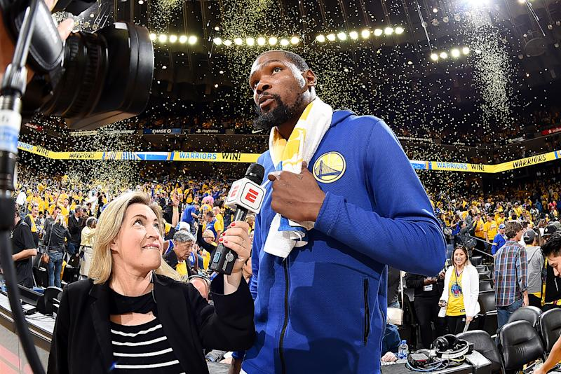 Kevin Durant #35 of the Golden State Warriors talks with media after the game against the Houston Rockets during Game Three of the Western Conference Finals during the 2018 NBA Playoffs on May 20, 2018 at ORACLE Arena in Oakland, California.