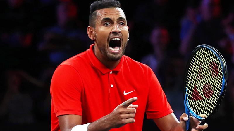 Nick Kyrgios in action in the Laver Cup. (Photo by Clive Brunskill/Getty Images for Laver Cup)