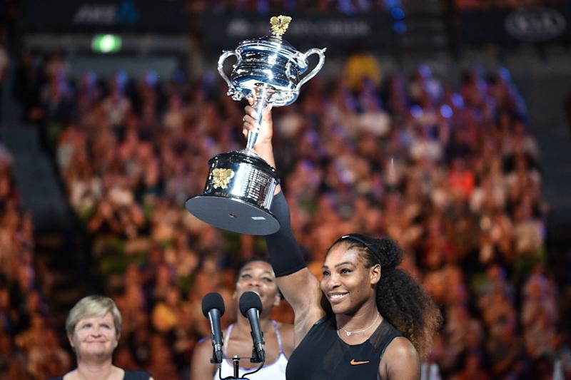 Serena Williamscelebrates her victory at the Australian Open. (PETER PARKS via Getty Images)