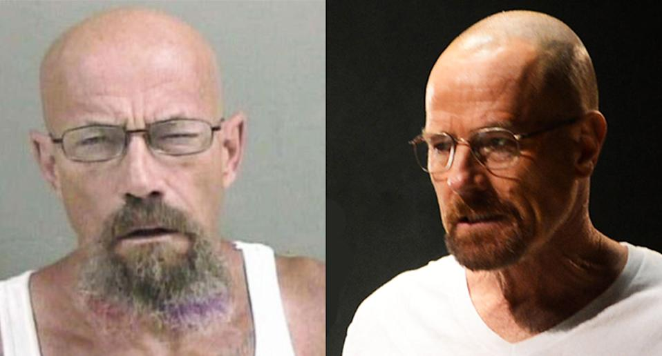 The internet is obsessing over the resemblance between a man named Todd W. Barrick Jr., who is wanted by police in relation to a meth charge, and Bryan Cranston's Breaking Bad character, Walter White(Photo: Galesburg Police Department Facebook; Everett Collection)
