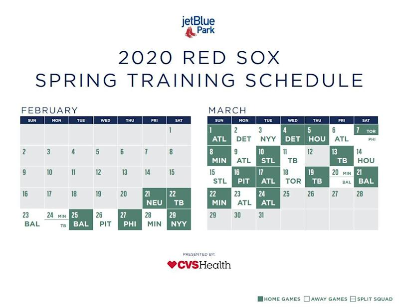Red Sox Playoff Schedule 2020 Boston Red Sox 2020 spring training schedule