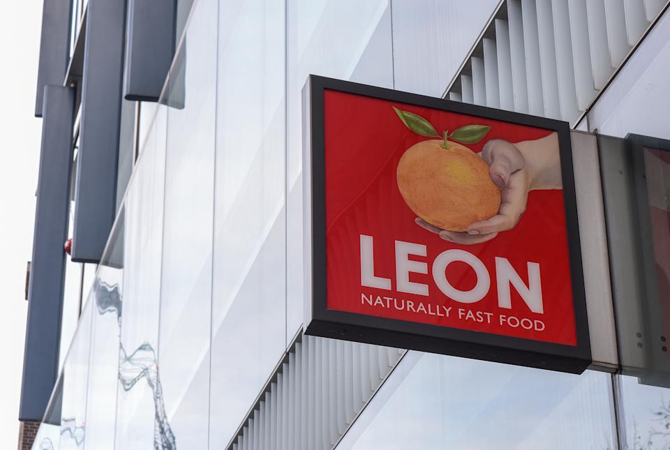 LONDON, UNITED KINGDOM - 2021/02/23: Leon a fast food chain logo seen in central London near the Tate Modern. (Photo by Petra Figueroa/SOPA Images/LightRocket via Getty Images)