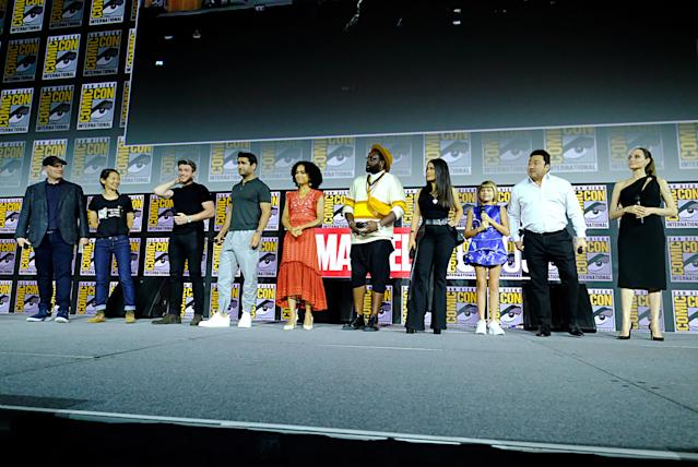The Eternals cast at Comic-Con, 2018 (Credit: Alberto E. Rodriguez/Getty Images for Disney)