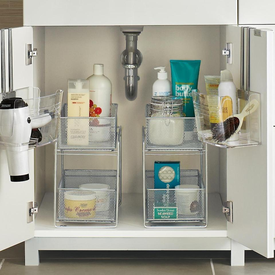 <p><span>The Container Store 2-Drawer Mesh Organizer</span> ($27) would be great in both your bathroom or kitchen. The taller shelves give you the option to store larger items, like bottles and containers.</p>