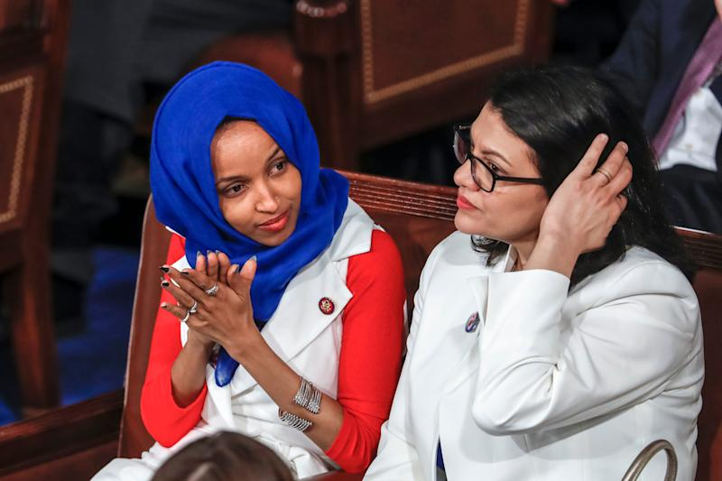 Reps. Omar and Tlaib appear in the Capitol during Trump's State of the Union address on Feb. 5, 2019.