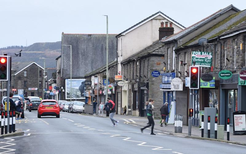 Treorchy in the Rhondda Valley in South Wales - Welsh coal towns' death rate double England's average as MP blames conspiracy theorists for flouting lockdown  - JAY WILLIAMS
