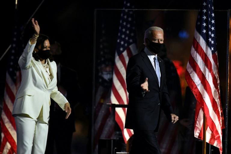 Joe Biden came out on stage to cheers with his running mate Kamala Harris