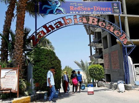 The entrance of the beach of the Zahabia Resort is seen in Hurghada