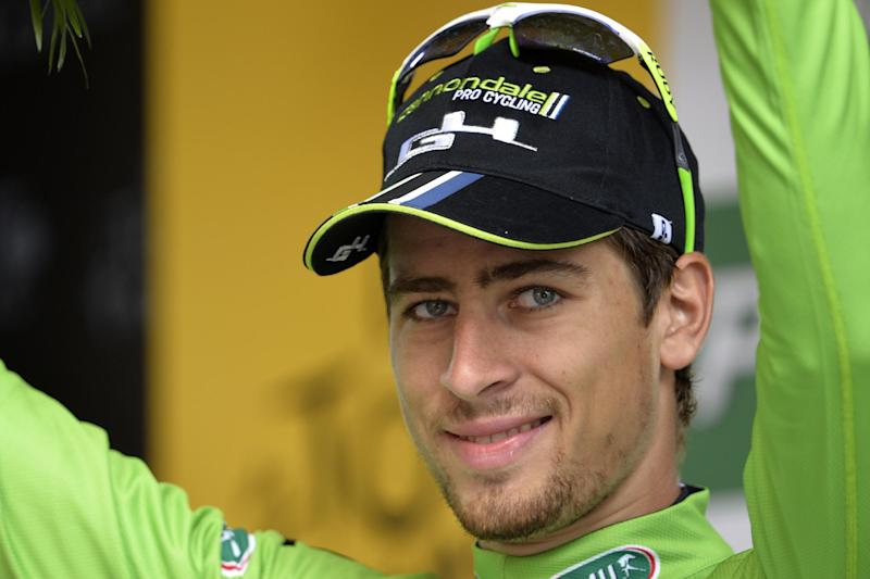 Slovakia's Peter Sagan celebrates at the end of the 15th stage of the Tour de France in Nimes, on July 20, 2014