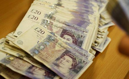 British Pound Sterling banknotes are seen at the Money Service Austria company's headquarters in Vienna