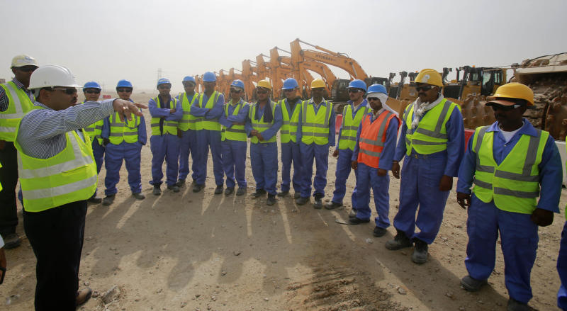 Picture released on May 20, 2014 shows work starting on the second phase of construction at al-Wakrah Stadium (AFP Photo/)