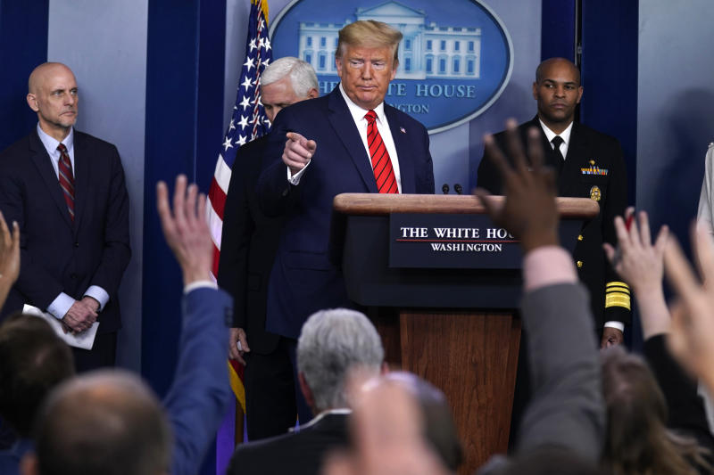 President Trump speaks during a press briefing with the coronavirus task force on Thursday. (Evan Vucci/AP)