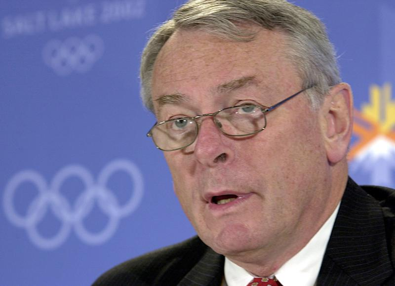 "World Anti-Doping Agency Chairman Dick Pound speaks about the agency's report during a press conference at the Winter Olympic media center in Salt Lake City in this Feb. 4, 2002 file photo. Pound defended the doping tests that embroiled Marion Jones and Floyd Landis in high-profile cases, saying ""in the long run, the system works. (AP Photo/Elaine Thompson)"
