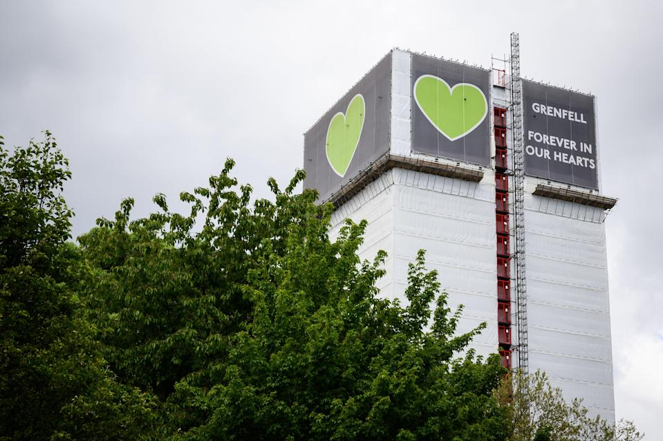 The covered structure of Grenfell Tower (Getty Images)
