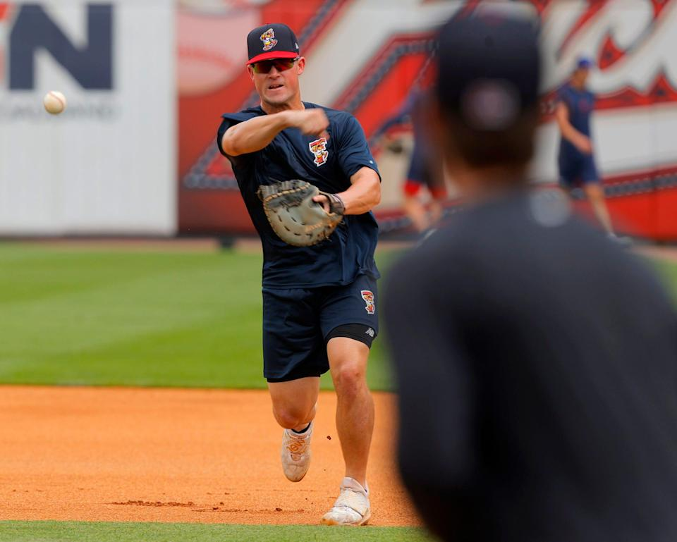 Toledo Mud Hens first baseman Spencer Torkelson during fielding practice before his teams game against the St. Paul Saints at Fifth Third Stadium in Toledo, Ohio on August 24, 2021.