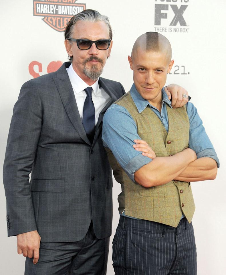 """Tommy Flanagan and Theo Rossi attend the """"Sons of Anarchy"""" Season 5 premiere screening at Westwood Village on September 8, 2012 in Los Angeles, California."""