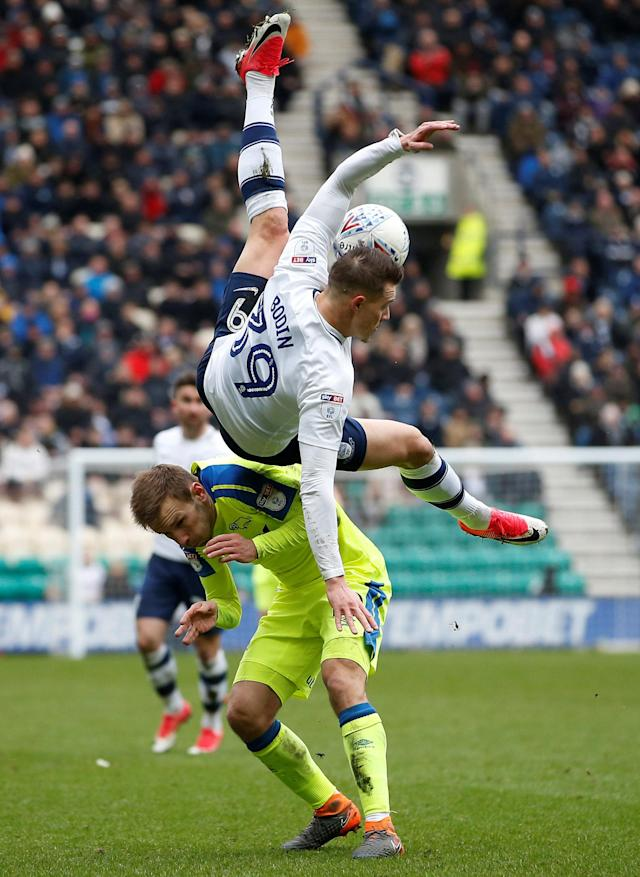 "Soccer Football - Championship - Preston North End vs Derby County - Deepdale, Preston, Britain - April 2, 2018 Derby County's Andreas Weimann (L) in action with Preston North End's Billy Bodin Action Images/Craig Brough EDITORIAL USE ONLY. No use with unauthorized audio, video, data, fixture lists, club/league logos or ""live"" services. Online in-match use limited to 75 images, no video emulation. No use in betting, games or single club/league/player publications. Please contact your account representative for further details."
