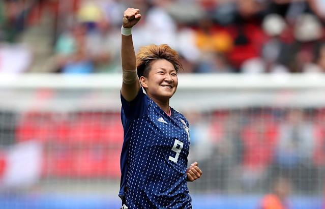 Yuika Sugasawa of Japan celebrates after scoring her team's second goal during the 2019 FIFA Women's World Cup France group D match between Japan and Scotland at Roazhon Park on June 14, 2019 in Rennes, France. (Photo by Catherine Ivill - FIFA/FIFA via Getty Images)