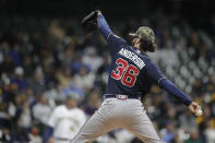 Atlanta Braves' Ian Anderson pitches during the first inning of the team's baseball game against the Milwaukee Brewers on Saturday, May 15, 2021, in Milwaukee. (AP Photo/Aaron Gash)