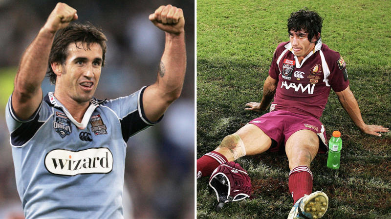 Jonathan Thurston (pictured right) dejected on the floor and Andrew Johns (pictured left) celebrating after his State of Origin masterclass .