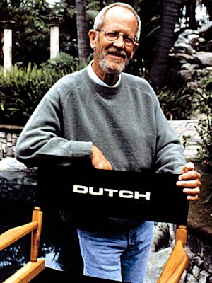 Author Elmore Leonard on the set of 'Get Shorty' in 1995
