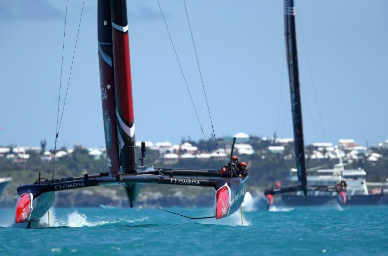 A deceptively simple change proved decisive in Bermuda in 2017, when the traditional arm grinder winches used to trim sails were replaced with leg grinders, giving the Kiwis (left) greater speed changing their rig during races