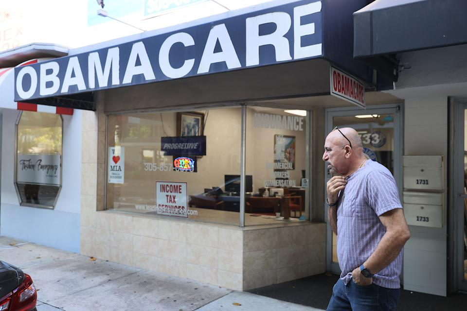 MIAMI, FLORIDA - JANUARY 28:  A. Michael Khoury stands outside of his Leading Insurance Agency, which offers plans under the Affordable Care Act (also known as Obamacare) on January 28, 2021 in Miami, Florida. President Joe Biden signed an executive order to reopen the Affordable Care Act's federal insurance marketplaces from February 15 to May 15. (Photo by Joe Raedle/Getty Images)