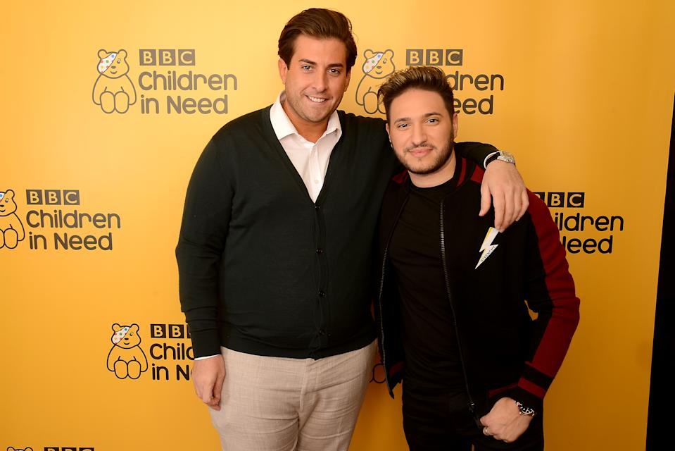 BOREHAMWOOD, ENGLAND - NOVEMBER 16: James Argent and Jonas Blue backstage at BBC Children In Need's 2018 appeal night at Elstree Studios on November 16, 2018 in Borehamwood, England. (Photo by Dave J Hogan/Dave J Hogan/Getty Images)