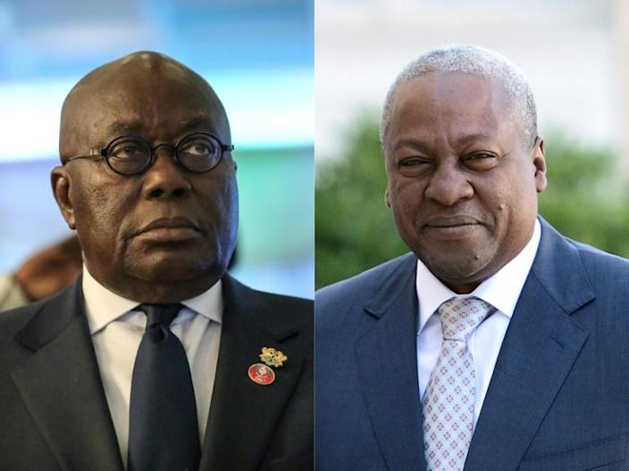 Rivals: Nana Akufo-Addo, left, and John Mahama