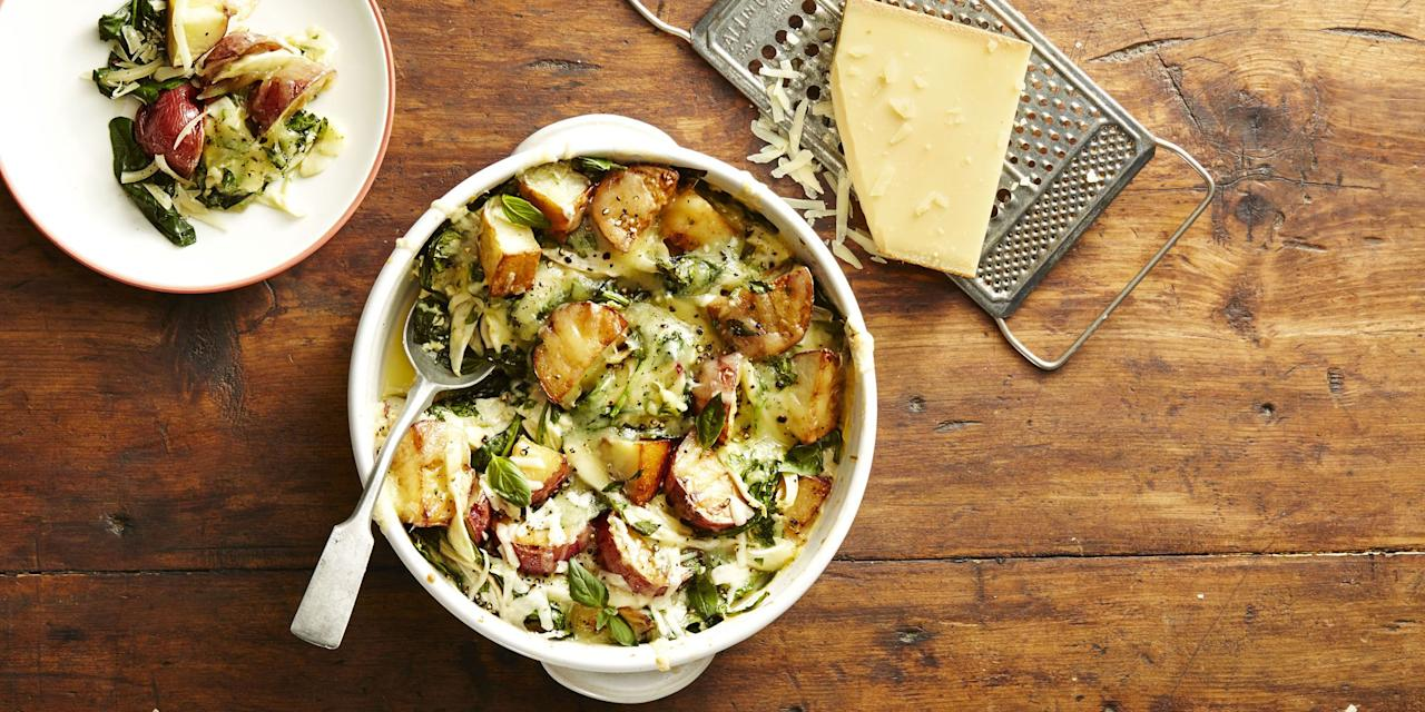 """<p>The presents are opened, the carols sung, and now it's time to gather 'round a table for a delicious Christmas feast. From <a href=""""https://www.goodhousekeeping.com/holidays/christmas-ideas/g794/christmas-appetizers/"""" target=""""_blank"""">appetizers</a> and flavor-packed main dishes to mouthwatering <a href=""""https://www.goodhousekeeping.com/holidays/christmas-ideas/g745/christmas-desserts/"""" target=""""_blank"""">Christmas desserts</a>, festive food is the star of this joyful family meal. The main course may catch your eye first (shout out to prime rib, turkey, <a href=""""https://www.goodhousekeeping.com/holidays/christmas-ideas/g4019/best-christmas-hams/"""" target=""""_blank"""">ham</a>, of whatever you may serve for Christmas dinner) but these Christmas side dishes are what actually fill your plate (and stomach). <br><br>It's hard to find the time to <a href=""""https://www.goodhousekeeping.com/food-recipes/cooking/tips/a24814/most-common-mashed-potato-mistakes/"""" target=""""_blank"""">perfect your mashed potatoes</a>, Brussels sprouts and  <a href=""""https://www.goodhousekeeping.com/holidays/thanksgiving-ideas/g803/green-beans/"""" target=""""_blank"""">green beens</a> with all of the chaos of the holiday season. And we get it: Between buying presents for your friends and family, finding the most festive <a href=""""https://www.goodhousekeeping.com/holidays/christmas-ideas/how-to/g2203/christmas-decoration-ideas/"""" target=""""_blank"""">Christmas house decorations</a>, and spending a holly jolly time with your crew, the last thing you're trying to do is make Christmas dinner <em>more </em>complicated with a new recipe. But your prime rib deserves some amazing sides, so bring on the flavor-packed, super easy dishes that are sure to please the whole family.<br><br>Whether you're on the hunt for traditional Christmas dishes or something to serve with your ham that offers up a little extra flair (like Roasted Carrots with Cumin-Thyme Granola) these tried and true recipes will be the perfect partners for any main dis"""