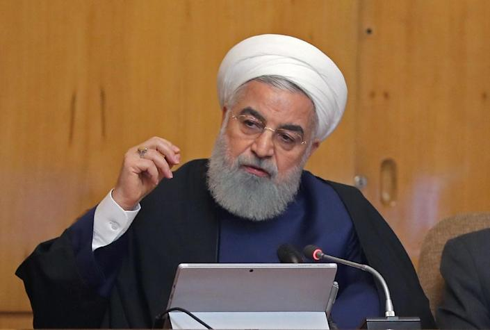 """Iranian President Hassan Rouhani says his country is """"too great to be intimidated by anyone"""" (AFP Photo/HO)"""