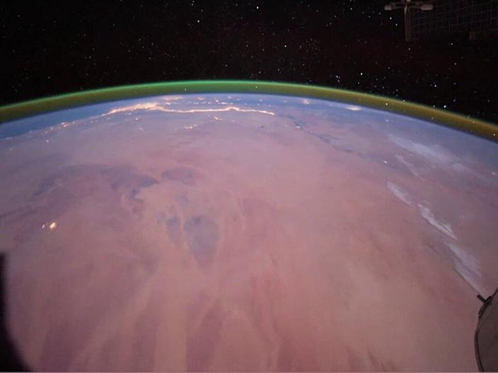 Similar airglow seen from the International Space Station (NASA)