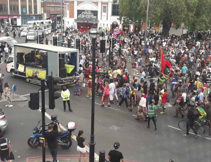 Crowds gather for anti-racism demonstration in Brixton: Lambeth Council/Twitter