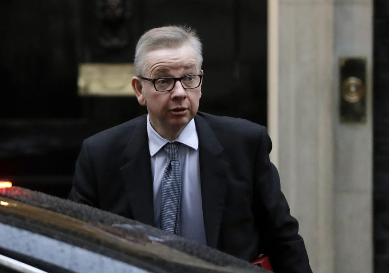 FILE - In this Thursday, Jan. 17, 2019 file photo Britain's Environment Secretary Michael Gove arrives at Downing Street. London. Prime Minister Theresa May's announcement that she will leave 10 Downing Street has set off a fierce competition to succeed her as Conservative Party leader _ and as the next prime minister. (AP Photo/Matt Dunham, File)