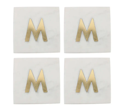 Set of 4 Monogram Marble Coasters with gold letter M