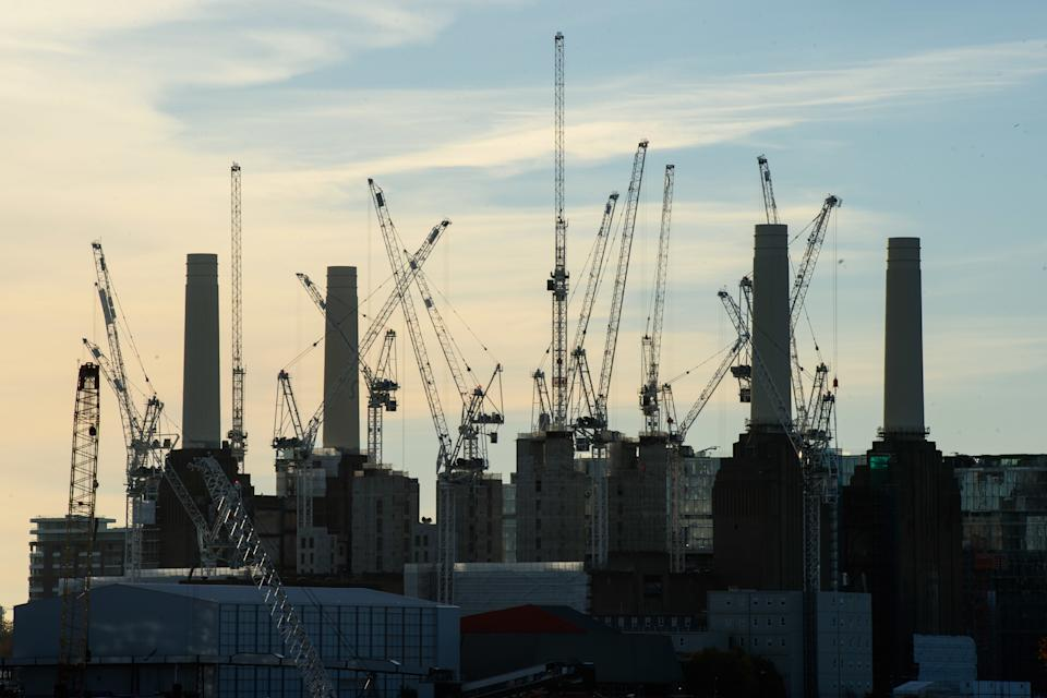 Building work on the redevelopment of Battersea Power Station in south London. A large number of luxury and ultra-luxury new-build apartments in London are failing to sell, as overseas investors invest less in UK property. Picture date: Wednesday November 14th, 2018. Photo credit should read: Matt Crossick/ EMPICS Entertainment.