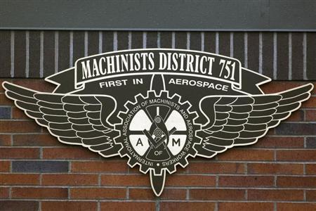 A sign of the International Association of Machinists and Aerospace Workers from District 751 is seen at their union hall in Seattle