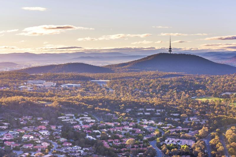Aerial view of Canberra from Belconnen in the morning