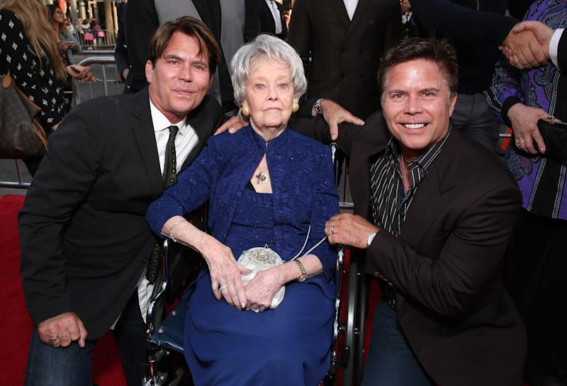 "Carey Hayes, Lorraine Warren and Chad Hayes attend ""The Conjuring 2"" on June 7, 2016. (Photo by Todd Williamson/Getty Images)"