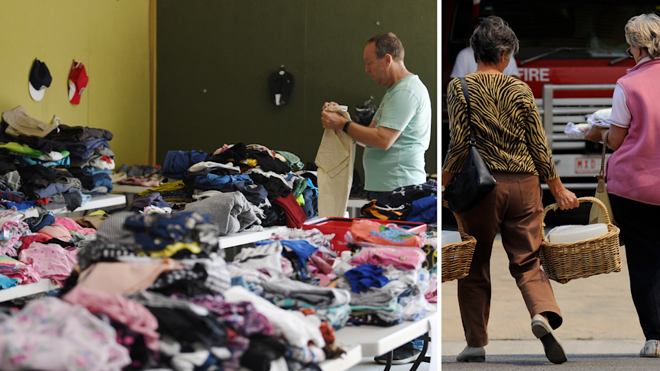 Piles of donated clothes; people bring in donations for bushfire victims.
